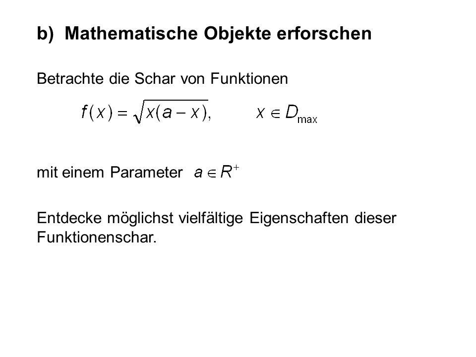 Betrachte die Schar von Funktionen b) Mathematische Objekte erforschen mit einem Parameter Entdecke möglichst vielfältige Eigenschaften dieser Funktio
