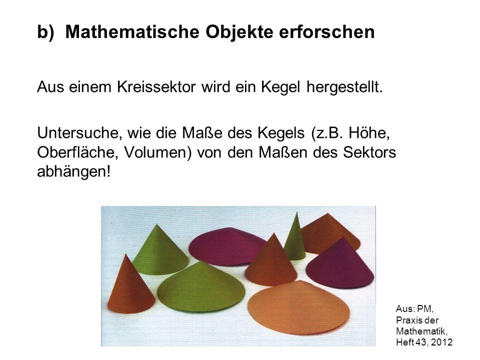 Aus einem Kreissektor wird ein Kegel hergestellt. Untersuche, wie die Maße des Kegels (z.B. Höhe, Oberfläche, Volumen) von den Maßen des Sektors abhän
