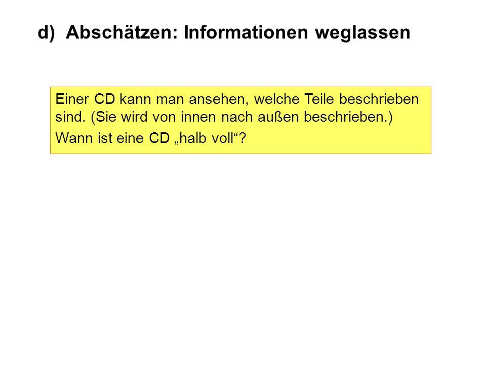 d) Abschätzen: Informationen weglassen Einer CD kann man ansehen, welche Teile beschrieben sind. (Sie wird von innen nach außen beschrieben.) Wann ist