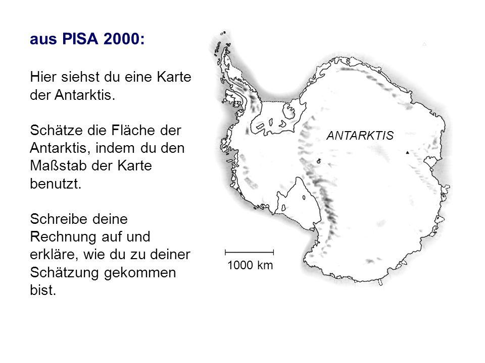 1000 km ANTARKTIS aus PISA 2000: Hier siehst du eine Karte der Antarktis. Schätze die Fläche der Antarktis, indem du den Maßstab der Karte benutzt. Sc