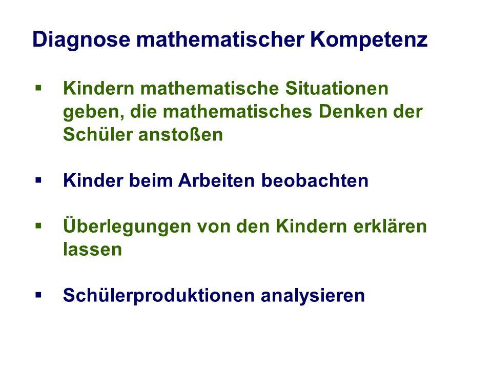 Diagnose mathematischer Kompetenz Kindern mathematische Situationen geben, die mathematisches Denken der Schüler anstoßen Kinder beim Arbeiten beobach
