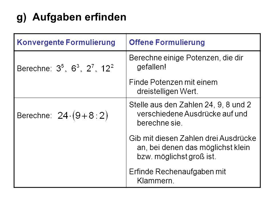 g) Aufgaben erfinden Konvergente FormulierungOffene Formulierung Berechne: Berechne einige Potenzen, die dir gefallen! Finde Potenzen mit einem dreist