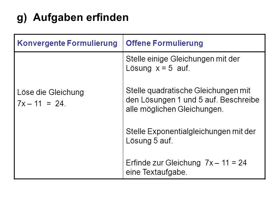 g) Aufgaben erfinden Konvergente FormulierungOffene Formulierung Löse die Gleichung 7x – 11 = 24. Stelle einige Gleichungen mit der Lösung x = 5 auf.