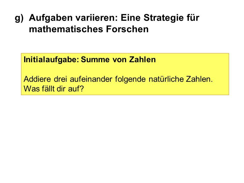 Initialaufgabe: Summe von Zahlen Addiere drei aufeinander folgende natürliche Zahlen. Was fällt dir auf? g)Aufgaben variieren: Eine Strategie für math