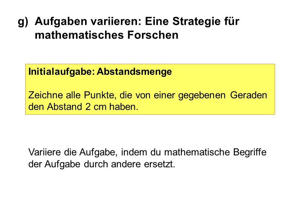 g)Aufgaben variieren: Eine Strategie für mathematisches Forschen Initialaufgabe: Abstandsmenge Zeichne alle Punkte, die von einer gegebenen Geraden de