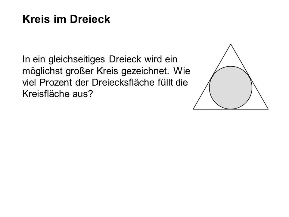 In ein gleichseitiges Dreieck wird ein möglichst großer Kreis gezeichnet.