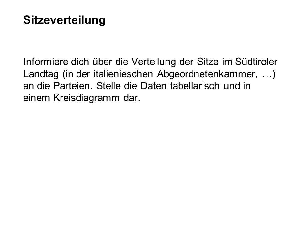 Informiere dich über die Verteilung der Sitze im Südtiroler Landtag (in der italienieschen Abgeordnetenkammer, …) an die Parteien. Stelle die Daten ta