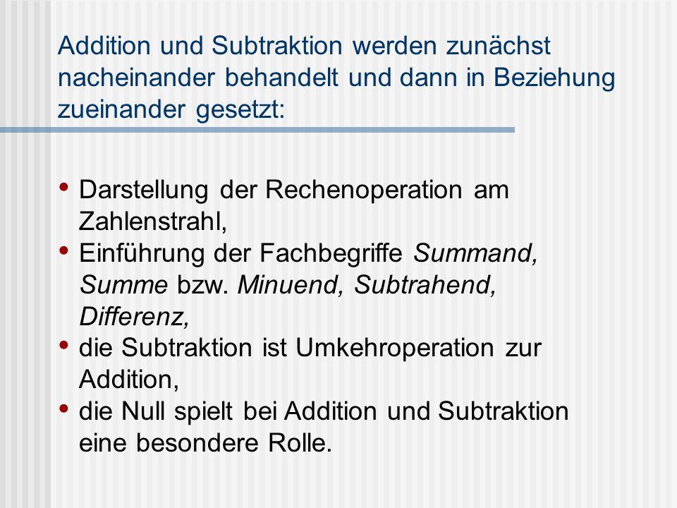 Addition und Subtraktion werden zunächst nacheinander behandelt und dann in Beziehung zueinander gesetzt: Darstellung der Rechenoperation am Zahlenstr