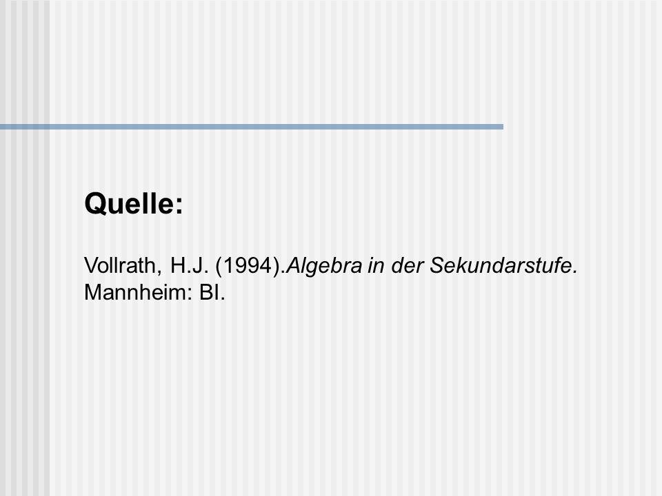 Vollrath, H.J. (1994).Algebra in der Sekundarstufe. Mannheim: BI. Quelle: