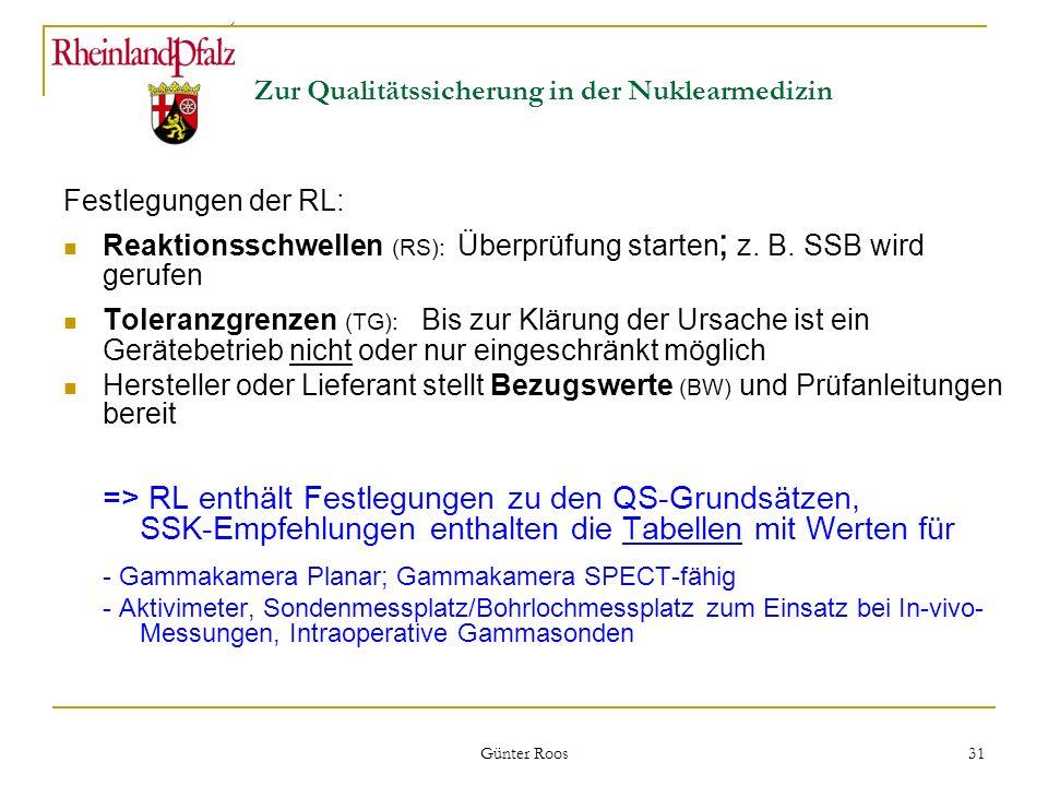 Ministerium für Umwelt, Forsten und Verbraucherschutz Günter Roos 31 Zur Qualitätssicherung in der Nuklearmedizin Festlegungen der RL: Reaktionsschwel