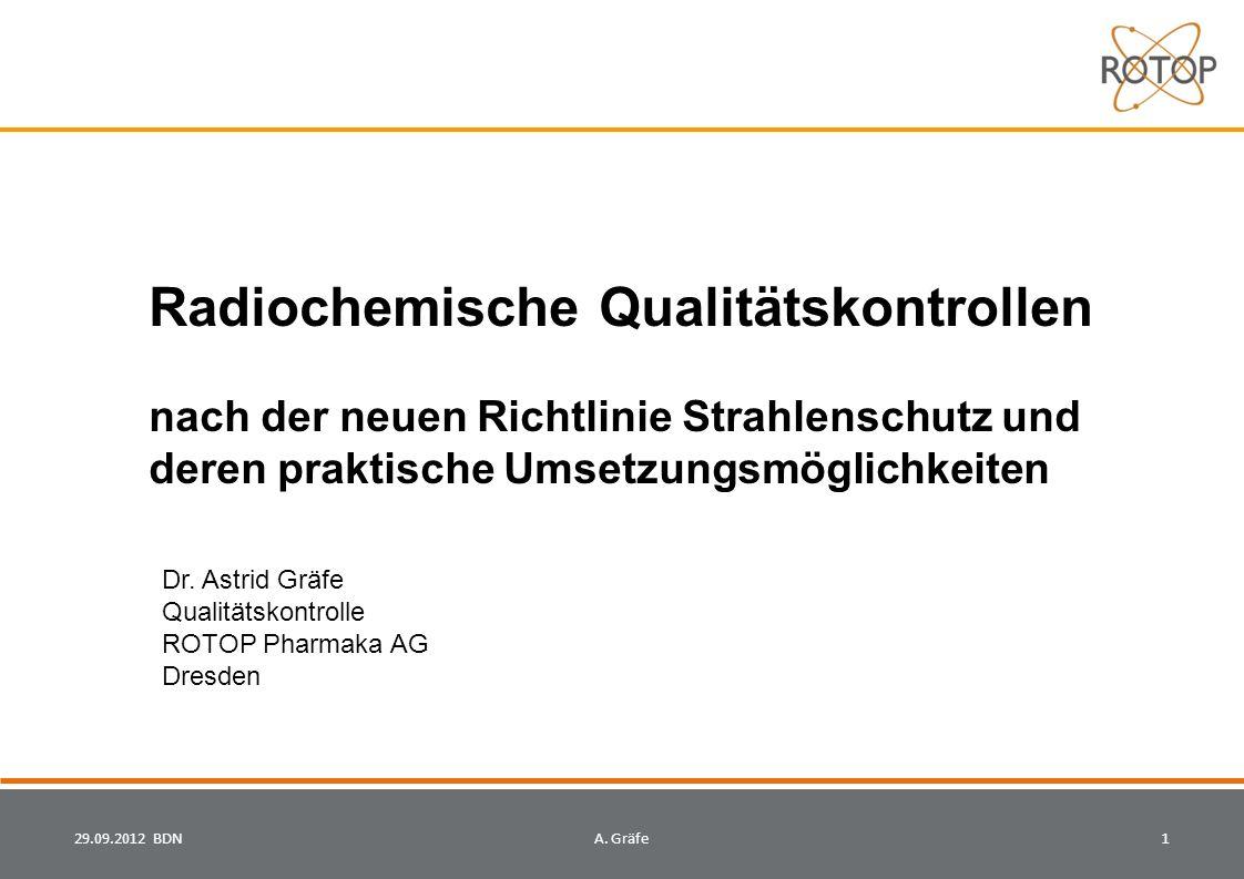 Radiochemische Qualitätskontrollen nach der neuen Richtlinie Strahlenschutz und deren praktische Umsetzungsmöglichkeiten 29.09.2012 BDN1A.