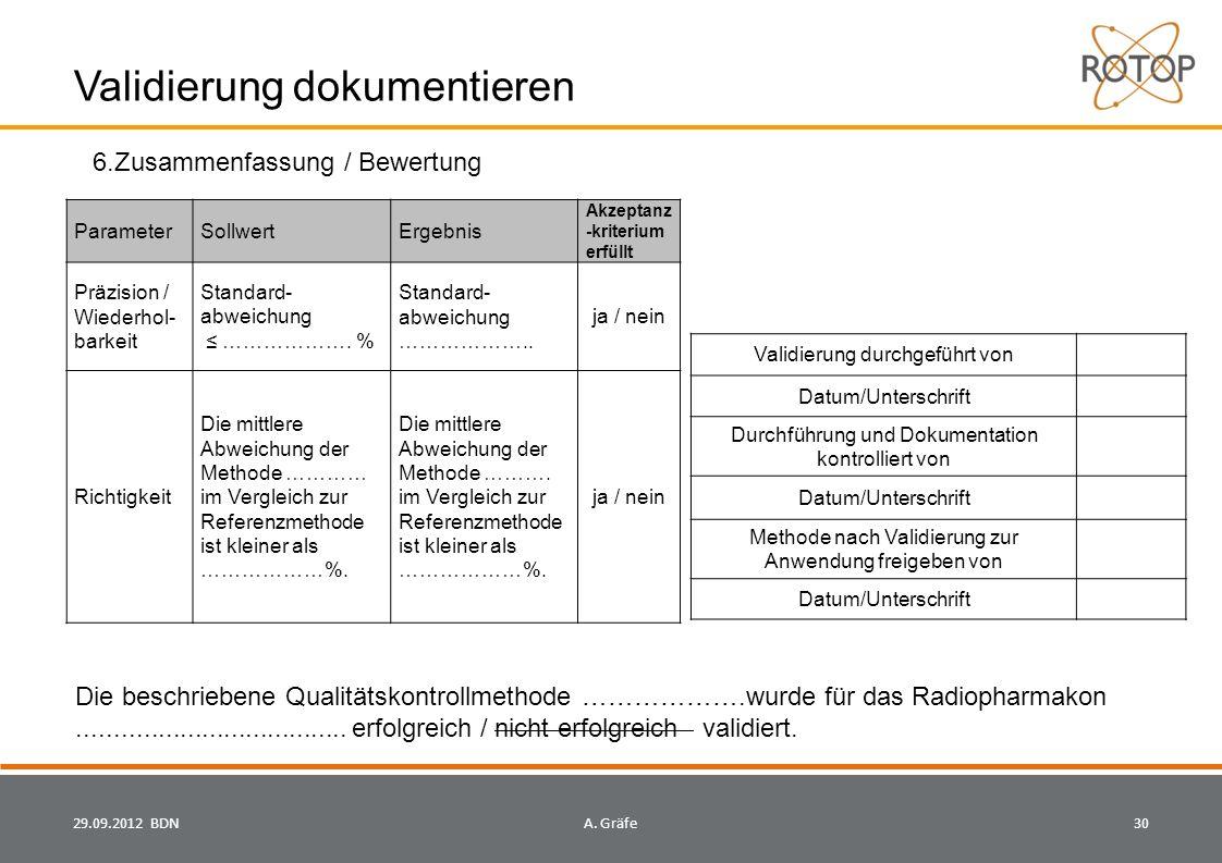Validierung dokumentieren 29.09.2012 BDN30A.