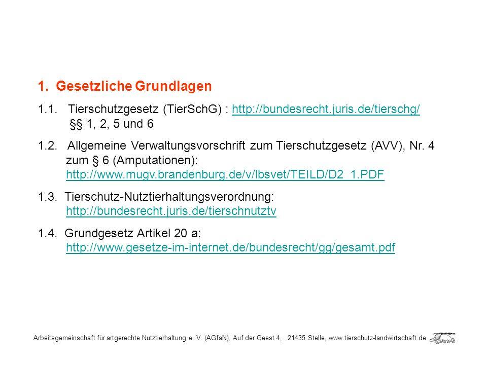 1.Gesetzliche Grundlagen 1.1. Tierschutzgesetz (TierSchG) : http://bundesrecht.juris.de/tierschg/ §§ 1, 2, 5 und 6http://bundesrecht.juris.de/tierschg