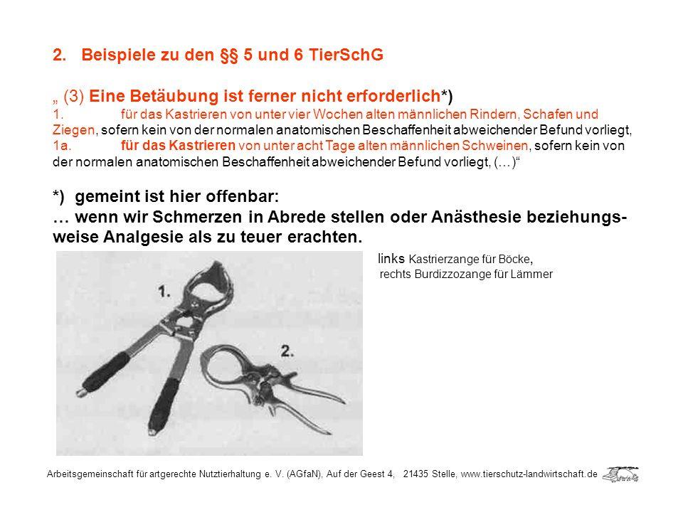 Arbeitsgemeinschaft für artgerechte Nutztierhaltung e. V. (AGfaN), Auf der Geest 4, 21435 Stelle, www.tierschutz-landwirtschaft.de 2. Beispiele zu den