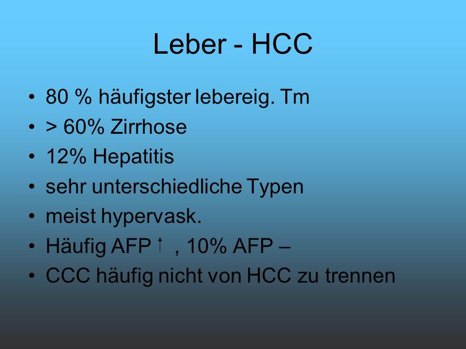 Leber - HCC 80 % häufigster lebereig. Tm > 60% Zirrhose 12% Hepatitis sehr unterschiedliche Typen meist hypervask. Häufig AFP, 10% AFP – CCC häufig ni