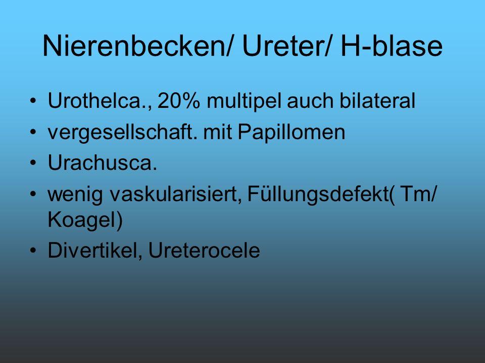 Nierenbecken/ Ureter/ H-blase Urothelca., 20% multipel auch bilateral vergesellschaft. mit Papillomen Urachusca. wenig vaskularisiert, Füllungsdefekt(
