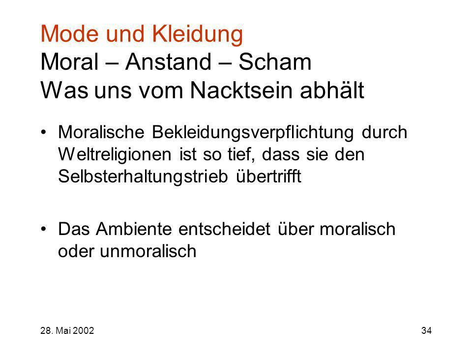 28. Mai 200234 Mode und Kleidung Moral – Anstand – Scham Was uns vom Nacktsein abhält Moralische Bekleidungsverpflichtung durch Weltreligionen ist so