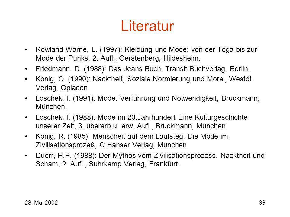 28. Mai 200236 Literatur Rowland-Warne, L. (1997): Kleidung und Mode: von der Toga bis zur Mode der Punks, 2. Aufl., Gerstenberg, Hildesheim. Friedman