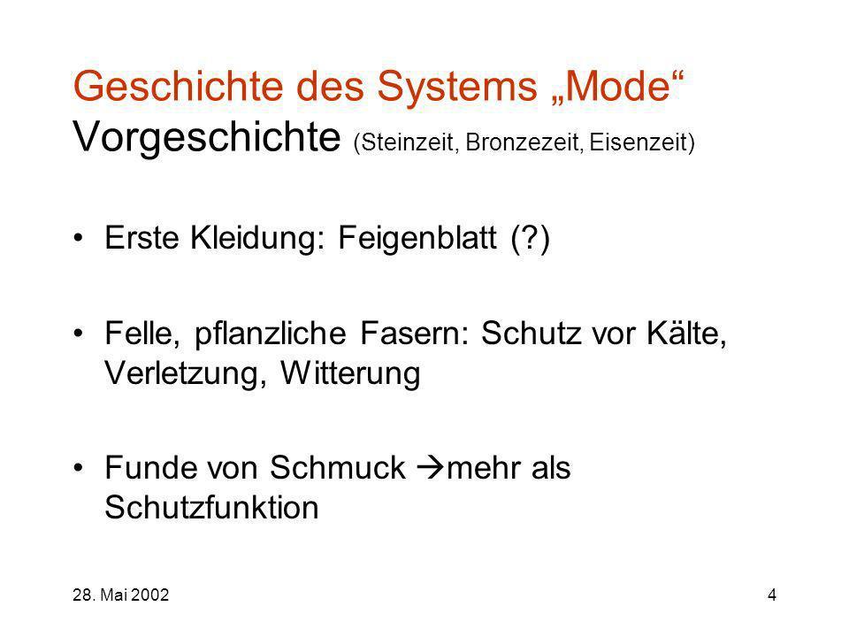 28. Mai 20024 Geschichte des Systems Mode Vorgeschichte (Steinzeit, Bronzezeit, Eisenzeit) Erste Kleidung: Feigenblatt (?) Felle, pflanzliche Fasern: