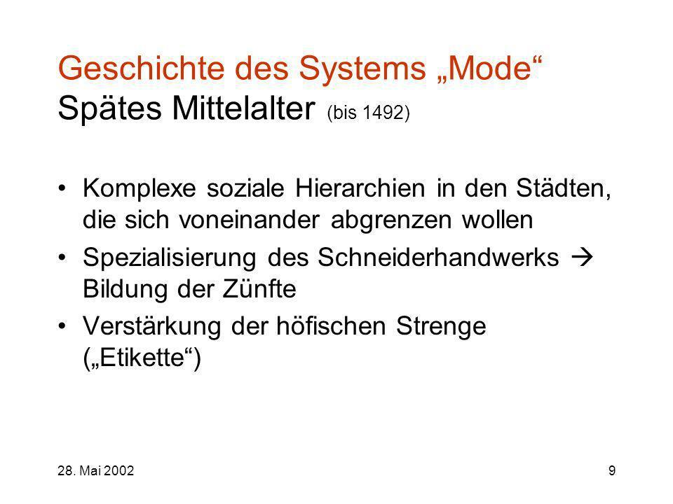 28. Mai 20029 Geschichte des Systems Mode Spätes Mittelalter (bis 1492) Komplexe soziale Hierarchien in den Städten, die sich voneinander abgrenzen wo