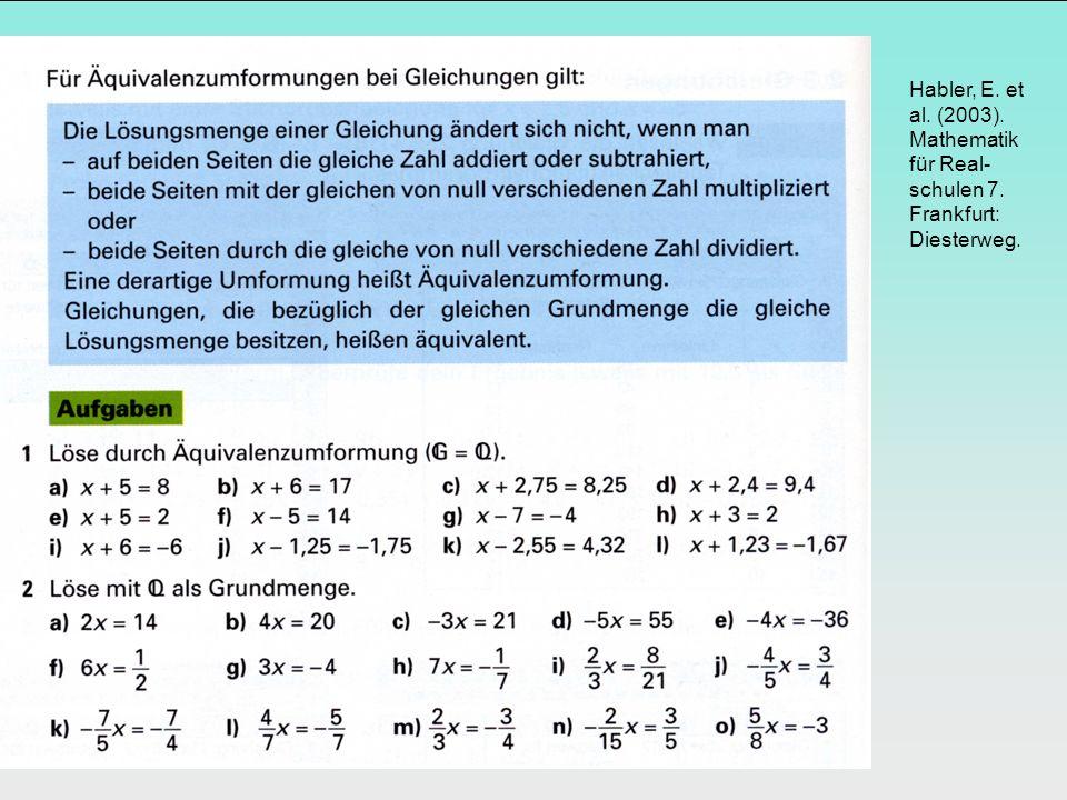 Habler, E. et al. (2003). Mathematik für Real- schulen 7. Frankfurt: Diesterweg.