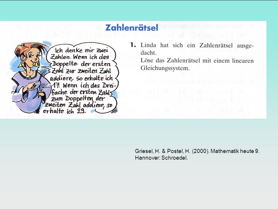 Griesel, H. & Postel, H. (2000). Mathematik heute 9. Hannover: Schroedel.