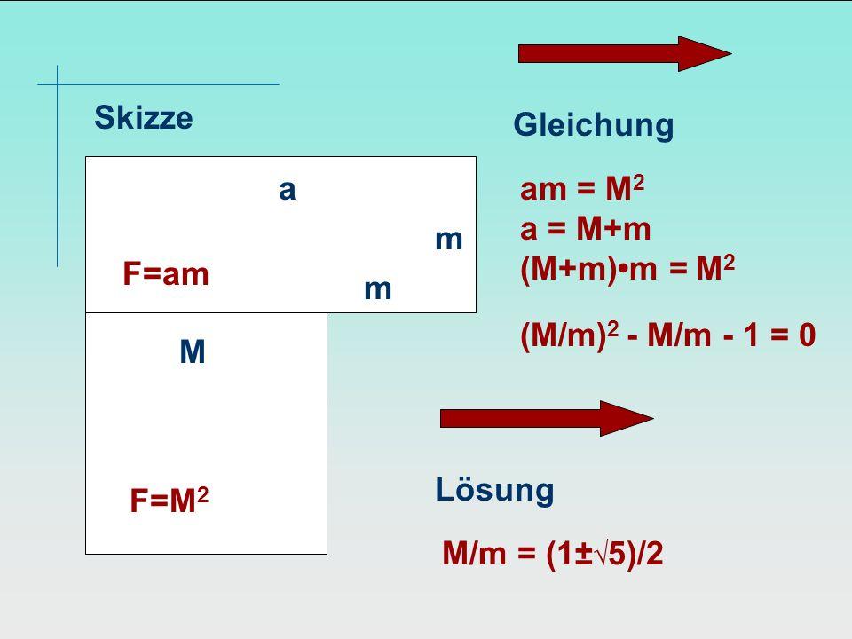 Skizze M F=M 2 m m a F=am Gleichung am = M 2 a = M+m (M+m)m = M 2 (M/m) 2 - M/m - 1 = 0 Lösung M/m = (1± 5)/2