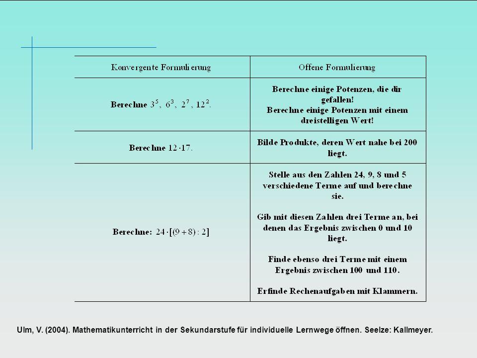 Ulm, V. (2004). Mathematikunterricht in der Sekundarstufe für individuelle Lernwege öffnen. Seelze: Kallmeyer.
