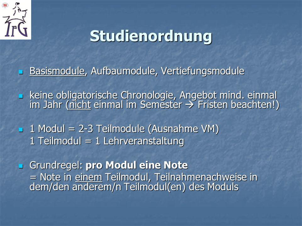 Studienordnung Basismodule, Aufbaumodule, Vertiefungsmodule Basismodule, Aufbaumodule, Vertiefungsmodule keine obligatorische Chronologie, Angebot min