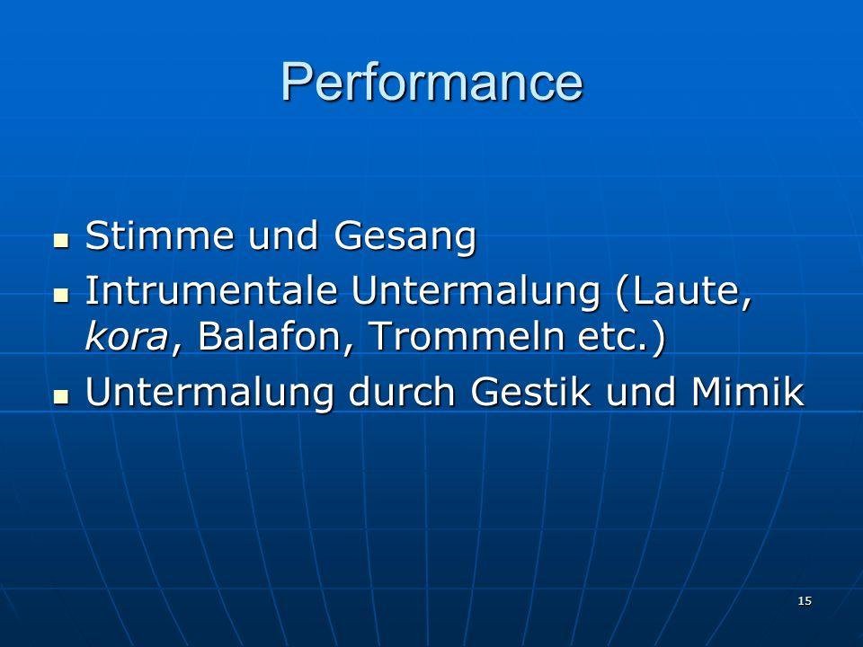 15 Performance Stimme und Gesang Stimme und Gesang Intrumentale Untermalung (Laute, kora, Balafon, Trommeln etc.) Intrumentale Untermalung (Laute, kor