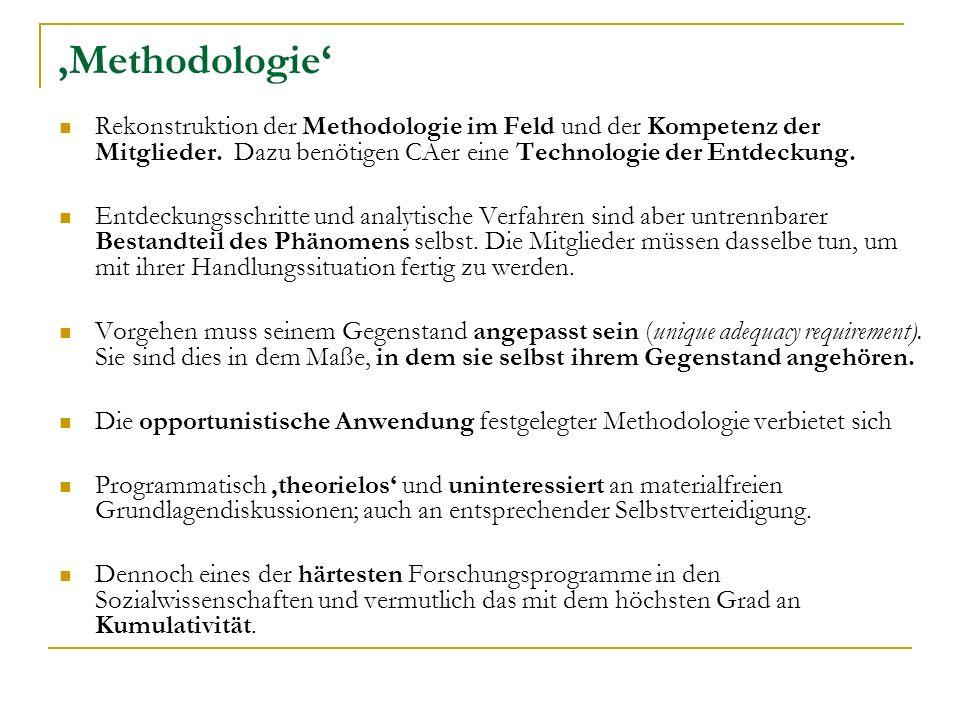 Methodologie Rekonstruktion der Methodologie im Feld und der Kompetenz der Mitglieder.
