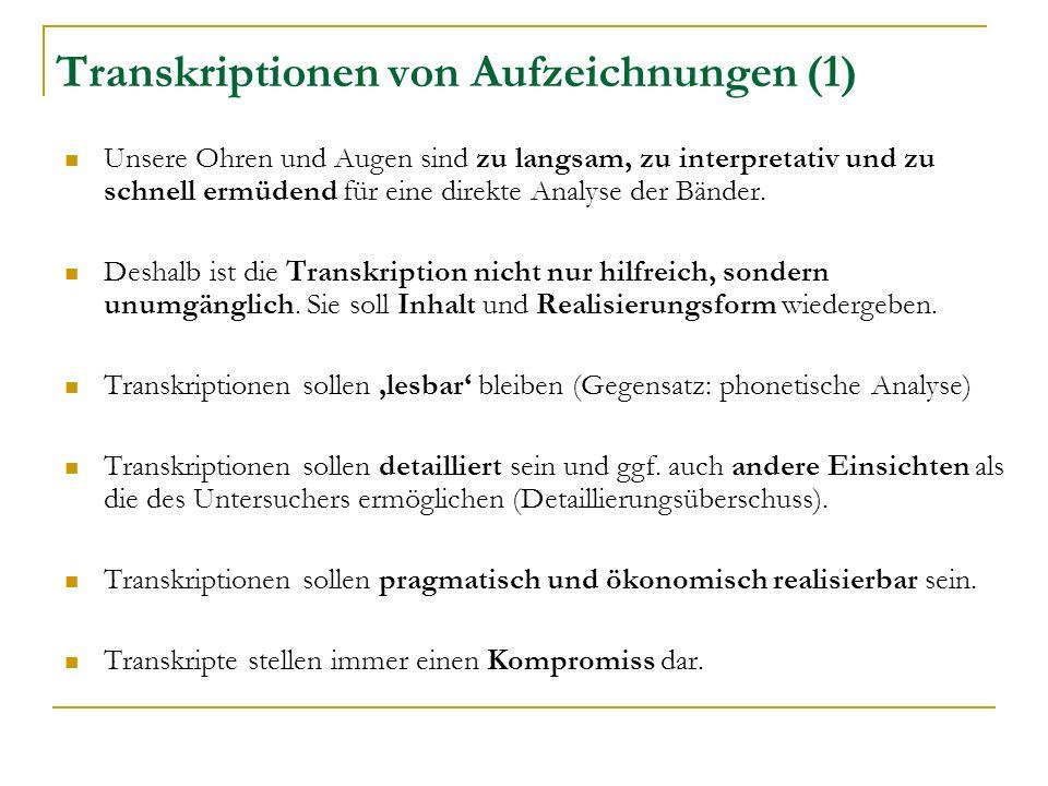 Transkriptionen von Aufzeichnungen (1) Unsere Ohren und Augen sind zu langsam, zu interpretativ und zu schnell ermüdend für eine direkte Analyse der Bänder.