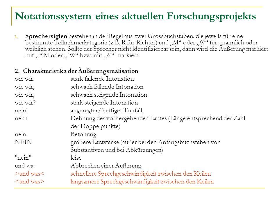 Notationssystem eines aktuellen Forschungsprojekts 1.