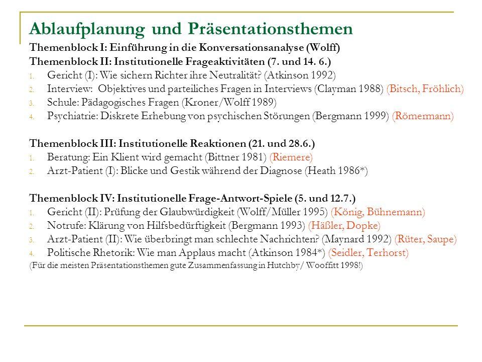 Ablaufplanung und Präsentationsthemen Themenblock I: Einführung in die Konversationsanalyse (Wolff) Themenblock II: Institutionelle Frageaktivitäten (7.