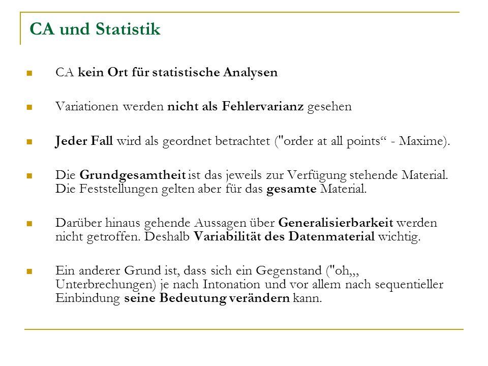 CA und Statistik CA kein Ort für statistische Analysen Variationen werden nicht als Fehlervarianz gesehen Jeder Fall wird als geordnet betrachtet ( order at all points - Maxime).