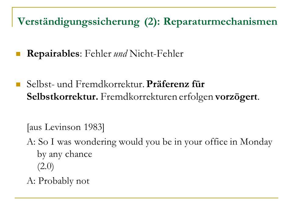 Verständigungssicherung (2): Reparaturmechanismen Repairables: Fehler und Nicht-Fehler Selbst- und Fremdkorrektur.