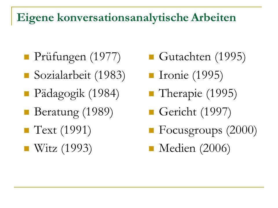 Eigene konversationsanalytische Arbeiten Prüfungen (1977) Sozialarbeit (1983) Pädagogik (1984) Beratung (1989) Text (1991) Witz (1993) Gutachten (1995) Ironie (1995) Therapie (1995) Gericht (1997) Focusgroups (2000) Medien (2006)