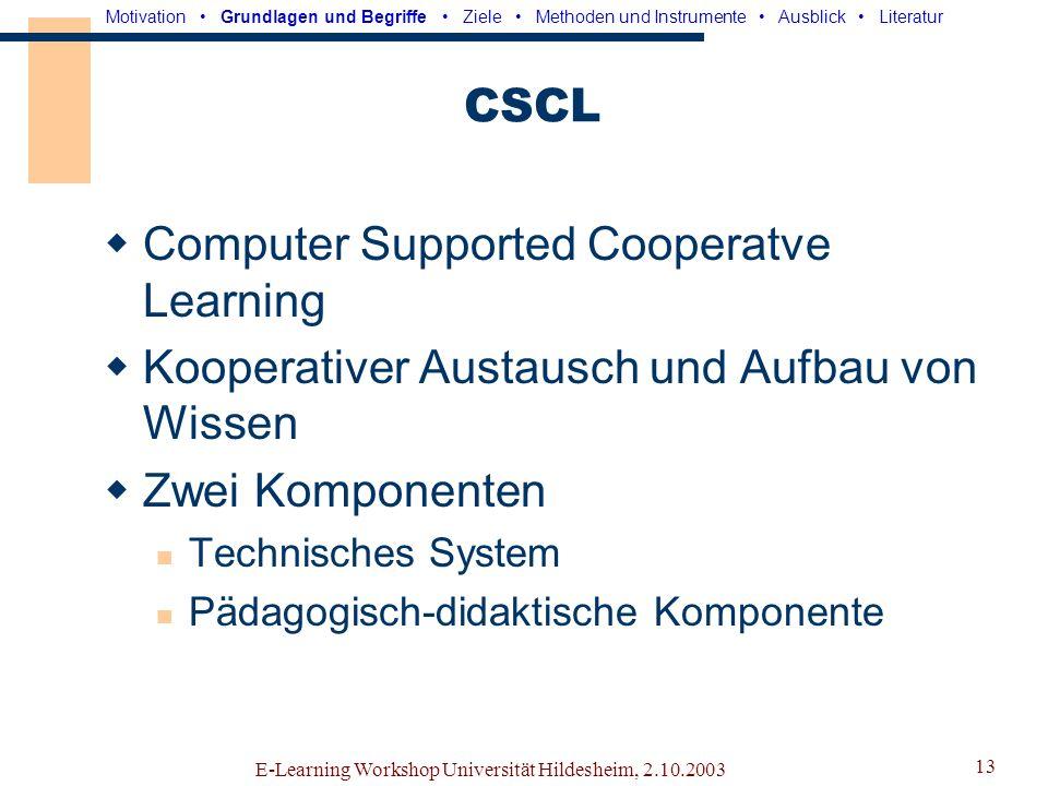 E-Learning Workshop Universität Hildesheim, 2.10.2003 12 CSCW Computer Supported Cooperative Work Interdisziplinäres Forschungsfeld -Informatik, Künst