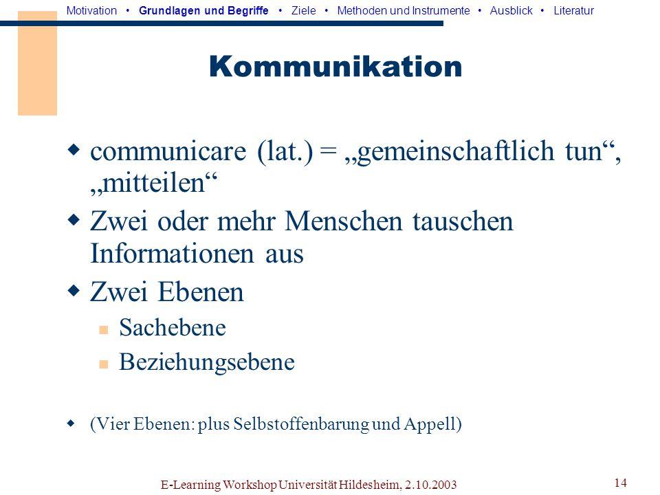 E-Learning Workshop Universität Hildesheim, 2.10.2003 13 CSCL Computer Supported Cooperatve Learning Kooperativer Austausch und Aufbau von Wissen Zwei