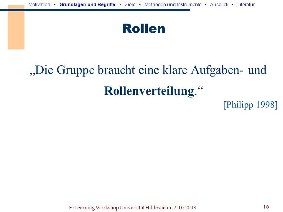 E-Learning Workshop Universität Hildesheim, 2.10.2003 15 Kommunikation
