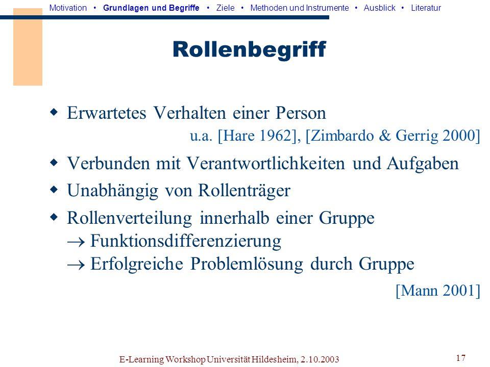 E-Learning Workshop Universität Hildesheim, 2.10.2003 16 Rollen Die Gruppe braucht eine klare Aufgaben- und Rollenverteilung. Motivation Grundlagen un