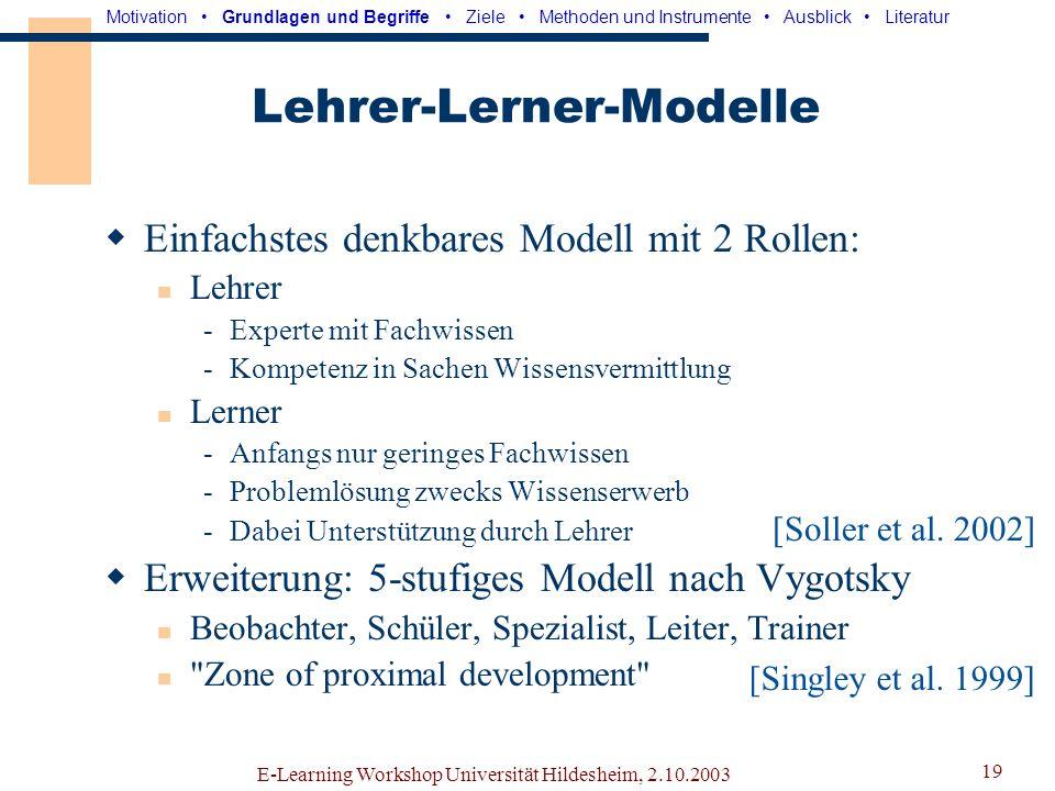 E-Learning Workshop Universität Hildesheim, 2.10.2003 18 Rollenmodelle Beschreibung der Rollenstruktur einer Gruppe Mögliche bzw.