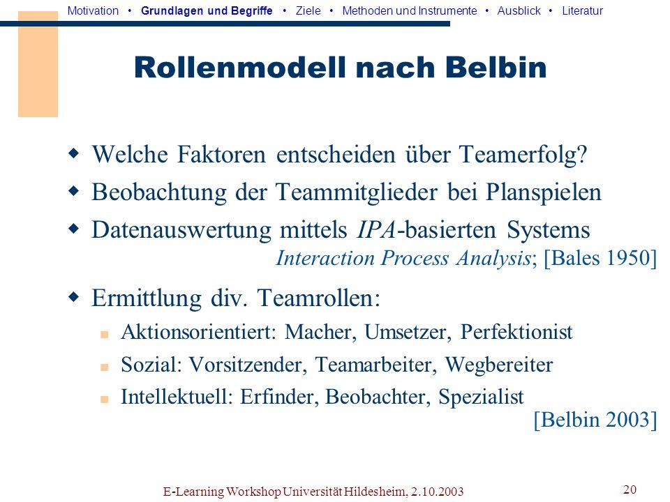 E-Learning Workshop Universität Hildesheim, 2.10.2003 19 Lehrer-Lerner-Modelle Einfachstes denkbares Modell mit 2 Rollen: Lehrer -Experte mit Fachwiss