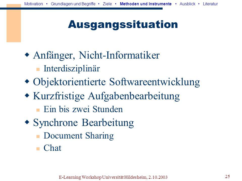 E-Learning Workshop Universität Hildesheim, 2.10.2003 24 Ziele Analyse virtueller Teams Rollen und ihre Verteilung Effizienz Defizite Kompensation der