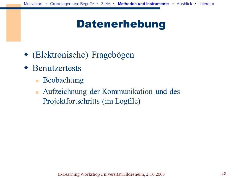 E-Learning Workshop Universität Hildesheim, 2.10.2003 27 Modellbildung Grundlage: Modell von Spencer & Pruss Berücksichtigung der Ausgangssituation Ableitung eines geeigneten Rollenmodells Motivation Grundlagen und Begriffe Ziele Methoden und Instrumente Ausblick Literatur