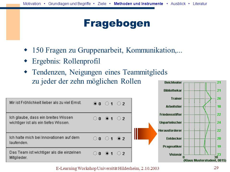 E-Learning Workshop Universität Hildesheim, 2.10.2003 28 Datenerhebung (Elektronische) Fragebögen Benutzertests Beobachtung Aufzeichnung der Kommunikation und des Projektfortschritts (im Logfile) Motivation Grundlagen und Begriffe Ziele Methoden und Instrumente Ausblick Literatur