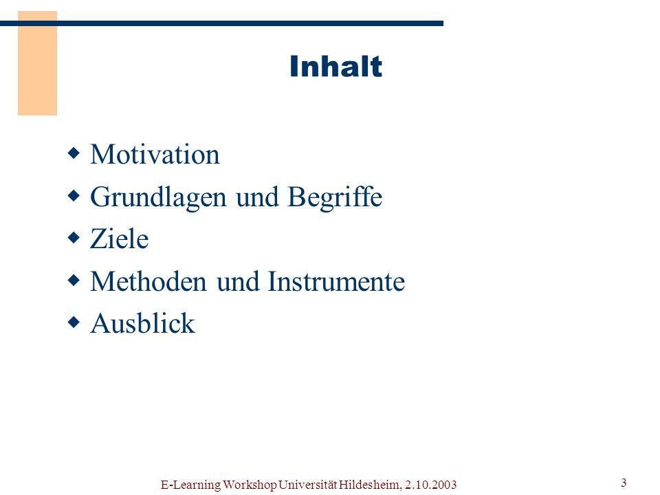 E-Learning Workshop Universität Hildesheim, 2.10.2003 2 VitaminL Teilprojekt bei ELAN (E-Learning Academic Network Niedersachsen) Projektantrag: Entwi