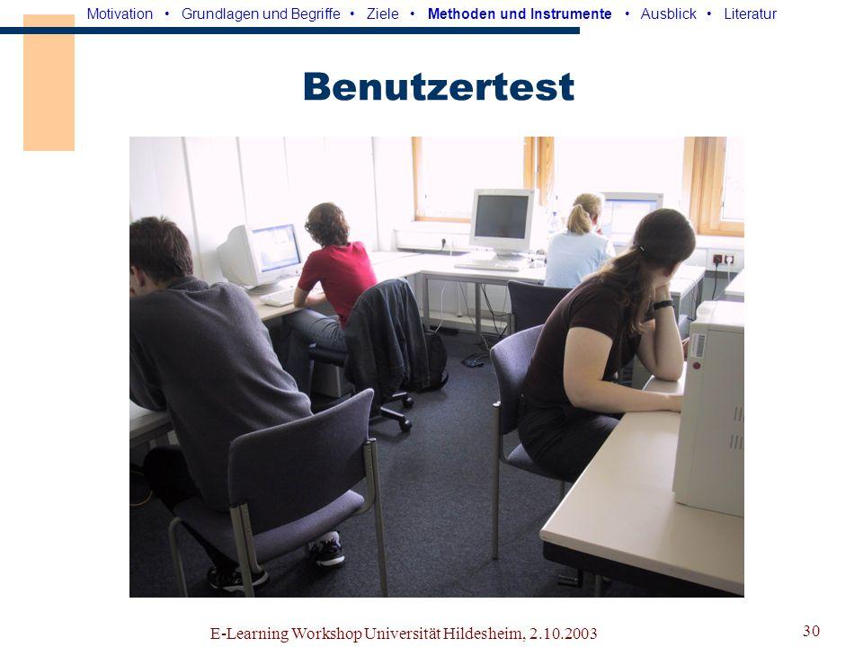 E-Learning Workshop Universität Hildesheim, 2.10.2003 29 Fragebogen 150 Fragen zu Gruppenarbeit, Kommunikation,...