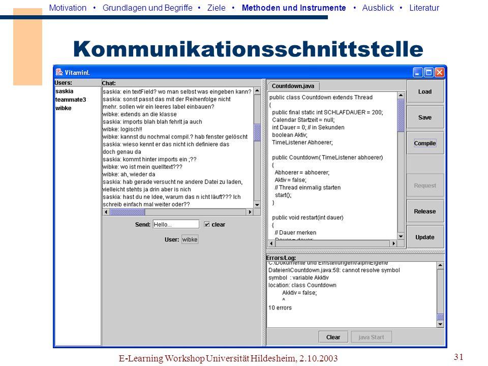 E-Learning Workshop Universität Hildesheim, 2.10.2003 30 Benutzertest Motivation Grundlagen und Begriffe Ziele Methoden und Instrumente Ausblick Liter