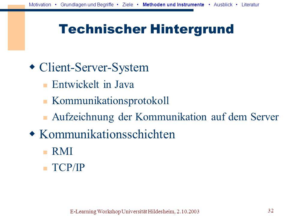 E-Learning Workshop Universität Hildesheim, 2.10.2003 31 Kommunikationsschnittstelle Motivation Grundlagen und Begriffe Ziele Methoden und Instrumente Ausblick Literatur